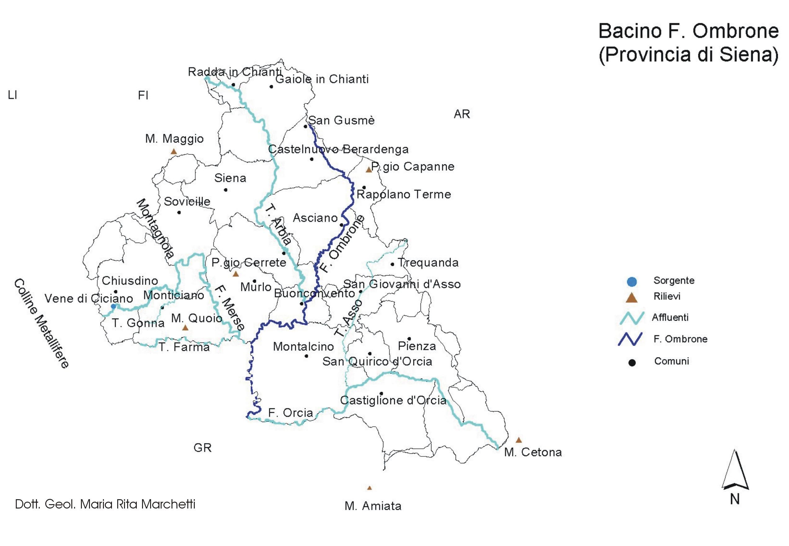 Cartina Toscana Provincia Di Siena.Ombrone Inquadramento Morfologico E Geografico
